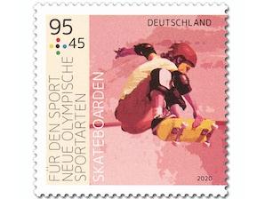 """Neue Olympische Sportarten - """"Skateboarden"""", Briefmarke zu 0,95 + 0,45 EUR, 10er-Bogen"""