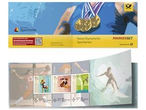 """Markenset """"Neue Olympische Sportarten"""", 0,80+0,40 EUR, 0,95+0,45 EUR, 1,55+0,55 EUR, 3er-Set"""