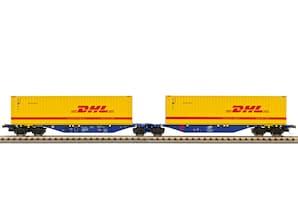 """Containerwagen mit 2 Containern """"DHL"""", Ep. VI, H0"""