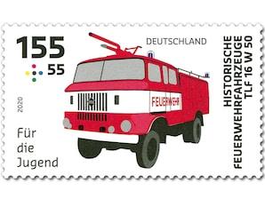 Historische Feuerwehrfahrzeuge, Briefmarke zu 1,55 + 0,55 EUR, 10er-Bogen
