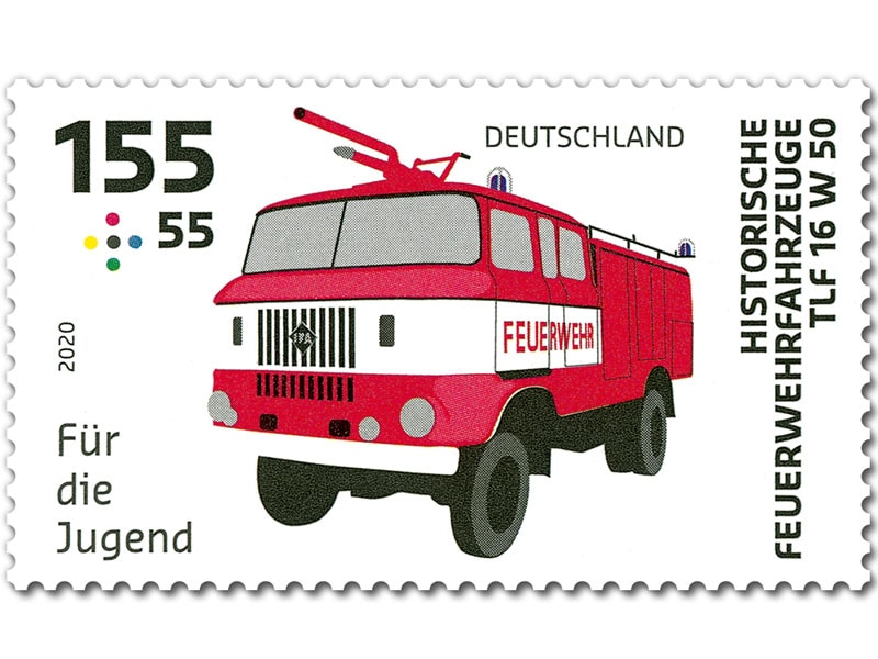 德国8月6日发行老式消防车附捐邮票