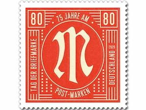 75 Jahre AM-Post-Marken, Briefmarke zu 0,80 EUR, 10er-Bogen