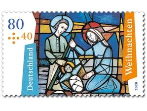 Kirchenfenster (Die Geburt Christi), Briefmarke zu 0,80 + 0,40 EUR, 10er-Bogen