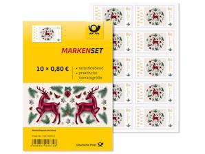 "Markenset ""Frohes Fest"", selbstklebende Briefmarke zu 0,80 EUR, 10er-Set"