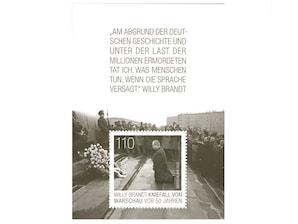 Willy Brandt - Kniefall von Warschau vor 50 Jahren, Briefmarke zu 1,10€, Blockausgabe