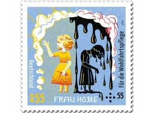 """Grimms Märchen - Frau Holle """"Die Wiedergeburt"""", nassklebende Briefmarke aus der Serie """"Für die Wohlfahrtspflege"""" zu 1,55 + 0,55 EUR, 10er-Bogen"""