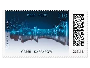 Deep Blue schlägt Kasparow, Briefmarke zu 1,10 EUR, 10er-Bogen