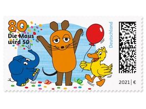 Die Sendung mit der Maus, nassklebende Briefmarke zu 0,80 EUR, 10er-Bogen