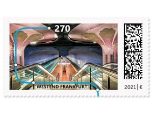 """""""U-Bahn-Stationen"""" Westend Frankfurt, Briefmarke zu 2,70 EUR, 10er-Bogen"""