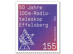 50 Jahre 100m-Radioteleskop Effelsberg, Briefmarke zu 1,55 EUR, 10er-Bogen