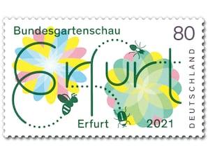 Bundesgartenschau Erfurt 2021, Briefmarke zu 0,80 EUR, 10er-Bogen