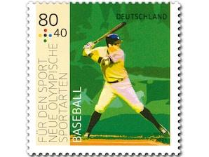 """Neue Olympische Sportarten - """"Baseball"""", nassklebende Briefmarke zu 0,80 + 0,40 EUR, 10er-Bogen"""