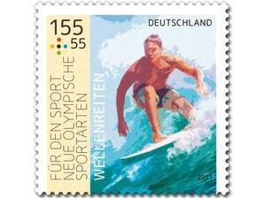 """Neue Olympische Sportarten - """"Wellenreiten"""", nassklebende Briefmarke zu 1,55 + 0,55 EUR, 10er-Bogen"""