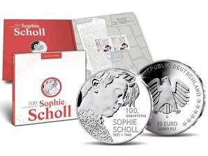 """Numisfolder Münze & Marke: """"100. Geburtstag Sophie Scholl"""""""