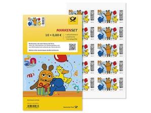 """Markenset """"Die Sendung mit der Maus"""", selbstklebende Briefmarke zu 0,80 EUR, 10er-Set"""