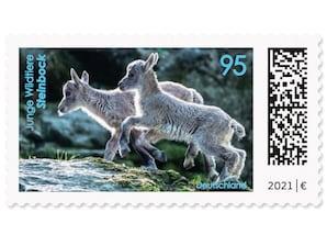 Steinbock, nassklebende Briefmarke zu 0,95 EUR, 10er-Bogen