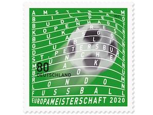 Fußball-Europameisterschaften, nassklebende Briefmarke zu 0,80 EUR, 10er-Bogen