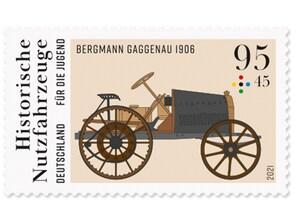 """Historische Nutzfahrzeuge """"Bergmann Gaggenau"""", Briefmarke zu 0,95 + 0,45 EUR, 10er-Bogen"""