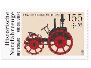 """Historische Nutzfahrzeuge """"Lanz HP Knicklenker"""", Briefmarke zu 1,55 + 0,55 EUR, 10er-Bogen"""
