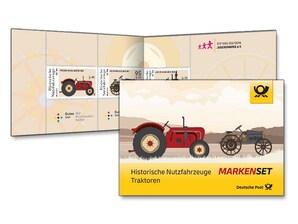 """Markenset """"Historische Nutzfahrzeuge - Traktoren"""" - 0,80+0,40 EUR, 0,95+0,45 EUR, 1,55+0,55 EUR, 3er-Set"""