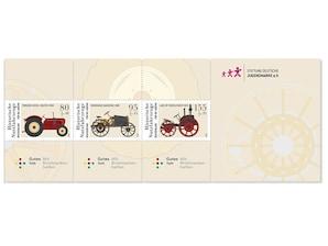 """Zusammendruck """"Historische Nutzfahrzeuge - Traktoren"""", 0,80+0,40 EUR, 0,95+0,45 EUR, 1,55+0,55 EUR, 3er-Set"""