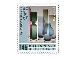 """Bild Briefmarke """"Hans Theo Baumann, Glasgefäße"""", 145 ct"""