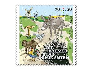 """Bild Briefmarke """"Bremer Stadtmusikanten - Freunde treffen"""", 70 + 30 ct - Bogenansicht"""