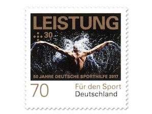 """Bild Briefmarke """"50 Jahre Deutsche Sporthilfe - Leistung"""" aus der Serie """"Für den Sport"""", 0,70 + 0,30 EUR"""