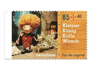 """Bild Briefmarke """"Augsburger Puppenkiste - Kleiner König Kalle Wirsch"""" 85 ct + 40 ct"""