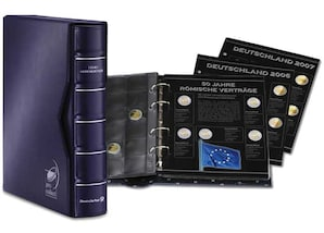 Münzenalbum für 2-Euro-Gedenkmünzen mit Deckblatt, 8 Vordruckblätter und 8 Münzenhüllen