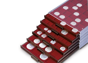 Münzenbox, transparent mit 1 Schub-Tableau, MBCAPEuro