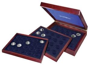 Münzenkassette aus Holz, 10-DM-Gedenkmünzen