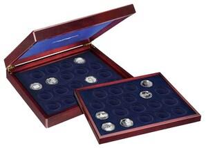Münzenkassette aus Holz,  5-DM-Gedenkmünzen (38 Münzen/Spiegelglanz)