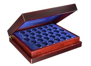 Münzenkassette aus Holz, für alle DDR-Gedenkmünzen