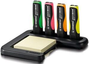Stabilo Textmarker Green Boss, Tischset mit 4 Textmarkern und Haftnotizblock