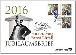 """Jubiläumsbrief """"200. Geburtstag Ernst Litfaß"""""""