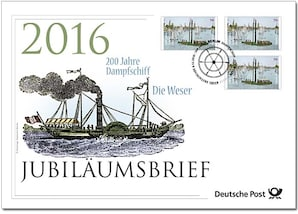 """Jubiläumsbrief """"200 Jahre Dampfschiff Weser"""""""