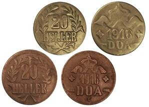 20 Heller Deutsch-Ostafrika 1916, 2er-Satz