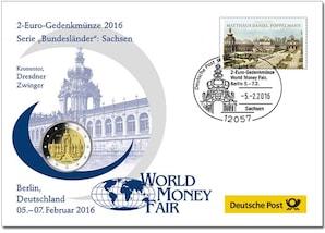 """Gedenkbrief World-Money-Fair: """"Sachsen"""" 2016"""