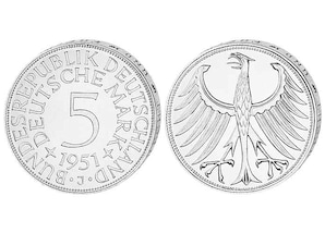 5 DM Silbermünze 1951-1974