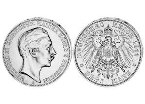 3-Mark-Silbermünze Kaiser Wilhelm II.