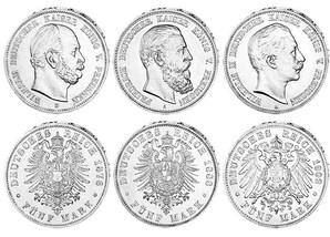"""5 M.-Set """"125 J. Drei Kaiserjahr 1888"""""""