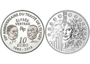 "10 Euro Silbermünze: ""Elysee-Vertrag"" (RF)"
