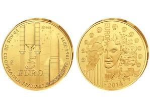 """5-Euro-Goldmünze 2014 - """"50 Jahre ESA"""""""
