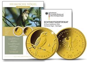 "20-Euro-Goldmünze ""Heimische Vögel 2016 - Nachtigall"""