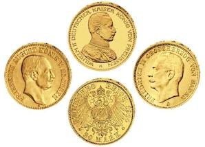 3 Goldmünzen Dt. Kaiserreich (1914)