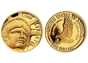 """5-Dollar-Goldmünze """"100 Jahre Freiheitsstatue"""" 1986"""