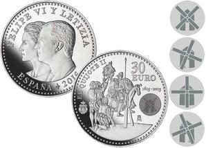 30-Euro-Silbermünze 2015 - Spanien - Don Quijote