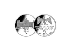 """5 DM Münze: """"100. Jahrestag der Gründung des Deutschen Reiches"""", 1971 (Stempelglanz)"""