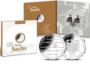 """Numisfolder Münze & Marke: """"125. Geburtstag Nelly Sachs"""""""